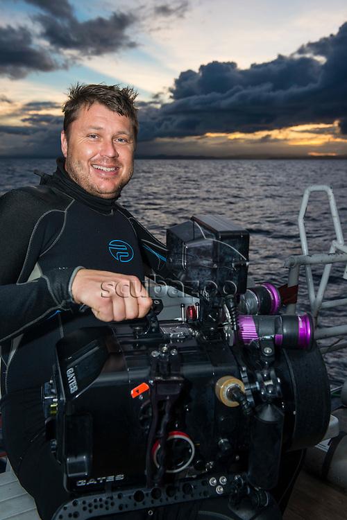 Simon Enderby on boat, Malapascua Island, Visayan Sea, The Philippines.