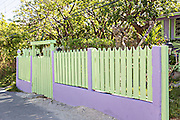 Colorful picket fence in Dunmore Town, Harbour Island, The Bahamas