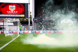 Flare on the pitch thrown by Leeds fans after their first goal - Rogan/JMP - 21/10/2017 - Ashton Gate Stadium - Bristol, England - Bristol City v Leeds United - Sky Bet Championship.
