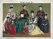 The Meiji Emperor of Japan, standing centre, with the Japanese imperial family, May 1900. After Torajiro Kasai, Japanese artist