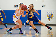 Lamoille's Katelin Collins (15) steals the ball from Milton's Megan Reilly (2) during the girls basketball game between Lamoille and Milton at Milton High School on Friday night December 18, 2015 in Milton, (BRIAN JENKINS/for the FREE PRESS)