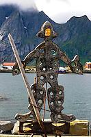 Norway, Lofoten. Sund is a small fishing village on the soutwest corner of Flakstadøya. Sculpture by he famous blacksmith in Sund.