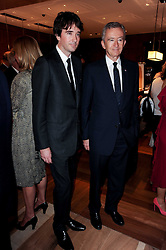 Left to right, ANTOINE ARNAUD and his father BERNARD ARNAUD the founder, chairman, and CEO of LVMH  at a party to celebrate the opening of the Louis Vuitton Bond Street Maison, New Bond Street, London on 25th May 2010.