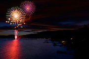 July 5 fireworks show in Incline Village, at Lake Tahoe, Nevada.