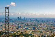 Los Angeles CA Skyline from high-power electrical transmission tower