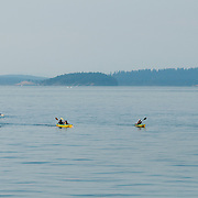 Boaters near Orcas Island in the San Juan Islands in Washington.