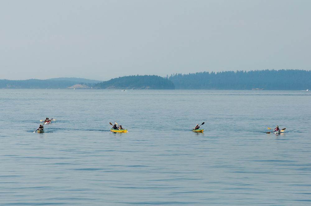 Boaters near Orcas Island in the San Juan Islands in Washington.