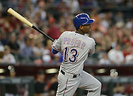PHOENIX, AZ - MAY 27:  Jurickson Profar #13 of the Texas Rangers at bat against the Arizona Diamondbacks in the first inning of an interleague game at Chase Field on May 27, 2013 in Phoenix, Arizona.  (Photo by Jennifer Stewart/Getty Images) *** Local Caption *** Jurickson Profar