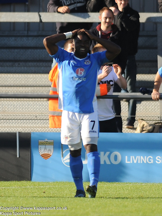 Eastleighs Yemi Odubade, Cant Believe as their goal is ruled offside, Barnet v Eastleigh, Vanarama Conference, Saturday 4th October 2014