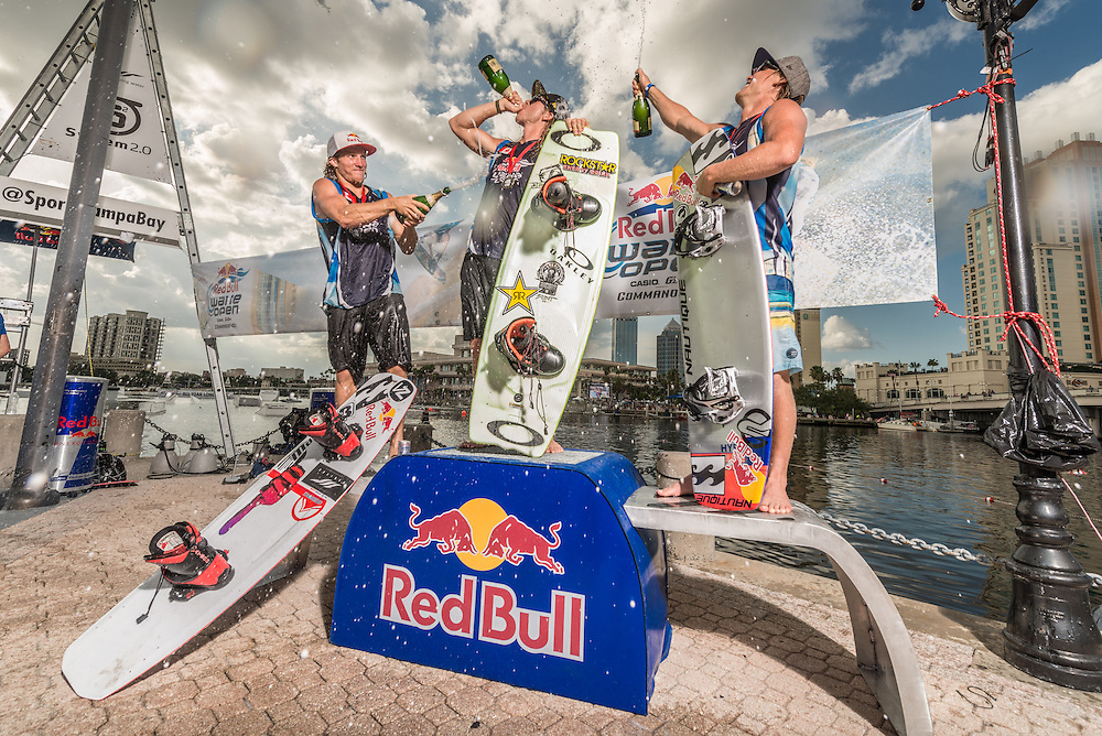 From left to right; Raph Derome, Aaron Rathy, JD Webb Celibrate at RedBull Wake Open in Tampa, Florida on July 5th, 2013.