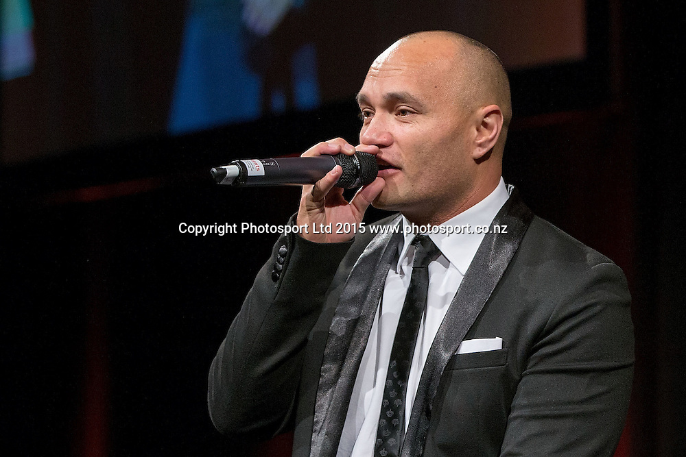 Entertainer Taye Williams performs at the SkyCity Breakers Awards, 2014-15, SkyCity Convention Centre, Auckland, New Zealand, Friday, March 20, 2015. Copyright photo: David Rowland / www.photosport.co.nz