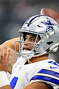 ARLINGTON, TX - OCTOBER 14:  Dak Prescott #4 of the Dallas Cowboys warms up before a game against the Jacksonville Jaguars at AT&T Stadium on October 14, 2018 in Arlington, Texas.  The Cowboys defeated the Jaguars 40-7.  (Photo by Wesley Hitt/Getty Images) *** Local Caption *** Dak Prescott