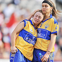 28 September 2008; Dejected Clare players Grace Lynch, left and Lorraine Kelly at the end of the game. TG4 All-Ireland Ladies Intermediate Football Championship Final, Clare v Tipperary, Croke Park, Dublin. Picture credit: David Maher / SPORTSFILE *** NO REPRODUCTION FEE ***