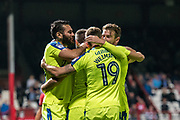 Derby County (36) Joe Ledley, Derby County (19) Andreas Weimann, celebrate goal  during the EFL Sky Bet Championship match between Brentford and Derby County at Griffin Park, London, England on 26 September 2017. Photo by Sebastian Frej.