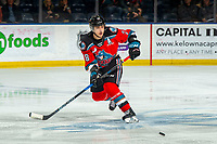 KELOWNA, BC - NOVEMBER 26: Leif Mattson #28 of the Kelowna Rockets passes the puck against the Edmonton Oil Kings at Prospera Place on November 26, 2019 in Kelowna, Canada. (Photo by Marissa Baecker/Shoot the Breeze)