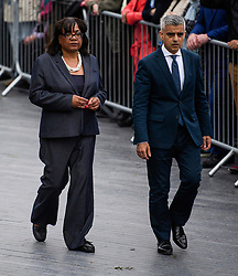© Licensed to London News Pictures. 05/06/2017. London, UK. Shadow foreign secretary DIANE ABBOTT and London Mayor SADIQ KHAN attend vigil at Potters Fields Park outside City Hall in London for those who lost their lives in the London Bridge terror attack. Three men attacked members of the public  after a white van rammed pedestrians on London Bridge. Ten people including the three suspected attackers were killed and 48 injured in the attack. Photo credit: Ben Cawthra/LNP