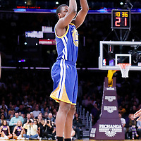 11 April 2014: Golden State Warriors forward Harrison Barnes (40) takes a jumpshot during the Golden State Warriors 112-95 victory over the Los Angeles Lakers at the Staples Center, Los Angeles, California, USA.