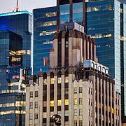 One Kansas City Place skyscraper in downtown Kansas City, Missouri lit in Royal Blue for the Kansas City Royals 2014 World Series run.