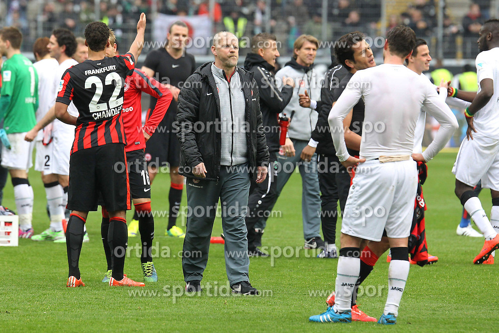 04.04.2015, Commerzbank Arena, Frankfurt, GER, 1. FBL, Eintracht Frankfurt vs Hannover 96, 27. Runde, im Bild Trainer Thomas Schaaf (Frankfurt) unzufrieden nach dem 0:0 Unentschieden // during the German Bundesliga 27th round match between Eintracht Frankfurt and Hannover 96 at the Commerzbank Arena in Frankfurt, Germany on 2015/04/04. EXPA Pictures &copy; 2015, PhotoCredit: EXPA/ Eibner-Pressefoto/ Roskaritz<br /> <br /> *****ATTENTION - OUT of GER*****