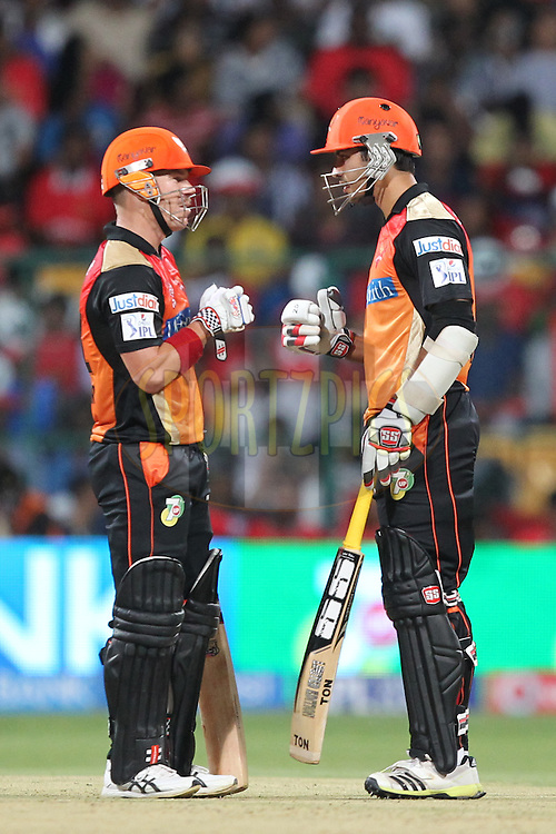 David Warner and Naman Ojhas of the Sunrisers Hyderabad during match 24 of the Pepsi Indian Premier League Season 2014 between the Royal Challengers Bangalore and the Sunrisers Hyderabad held at the M. Chinnaswamy Stadium, Bangalore, India on the 4th May  2014Photo by Prashant Bhoot / IPL / SPORTZPICSImage use subject to terms and conditions which can be found here:  http://sportzpics.photoshelter.com/gallery/Pepsi-IPL-Image-terms-and-conditions/G00004VW1IVJ.gB0/C0000TScjhBM6ikg