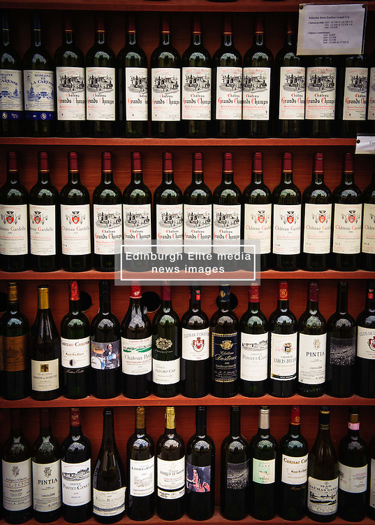 Rows of wine bottles in a shop in Saint Emilion, France<br /> <br /> (c) Andrew Wilson | Edinburgh Elite media
