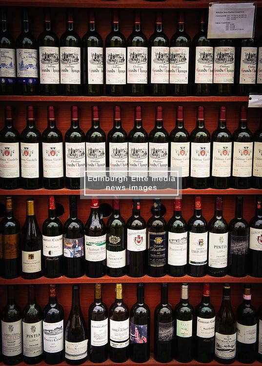Rows of wine bottles in a shop in Saint Emilion, France<br /> <br /> (c) Andrew Wilson | Edinburgh Elite media