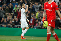 Real Madrid´s Karim Benzema celebrates a goal during 2015/16 Champions League soccer match between Real Madrid and Malmo at Santiago Bernabeu stadium in Madrid, Spain. December 08, 2014. (ALTERPHOTOS/Victor Blanco)