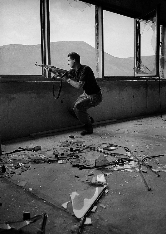 Mostar, Bosnia, 1993.<br /> <br /> Soldier from the Bosnian Croat Army on the frontline in Mostar.
