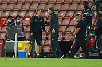 Football - 2020 / 2021 EFL Cup - Round 2 -Southampton vs. Brentford <br /> <br /> Southampton Manager Ralph Hasenhuttl and Brentford Head Coach Thomas Frank after the final whistle at St Mary's Stadium Southampton<br /> <br /> COLORSPORT/SHAUN BOGGUST