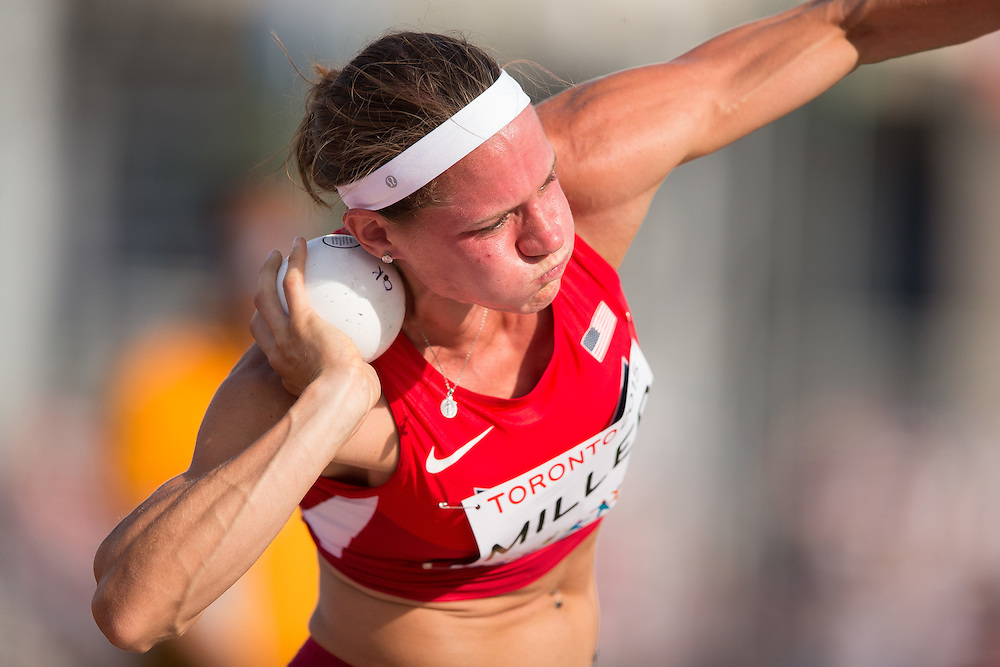 Heather Miller of the United States throws the shot put during the women's heptathlon competition at the 2015 Pan American Games at CIBC Athletics Stadium in Toronto, Canada, July 24,  2015.  AFP PHOTO/GEOFF ROBINS