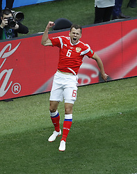 MOSCOW, June 14, 2018  Russia's Denis Cheryshev celebrates his goal during the opening match of the 2018 FIFA World Cup in Moscow, Russia, on June 14, 2018. (Credit Image: © Cao Can/Xinhua via ZUMA Wire)