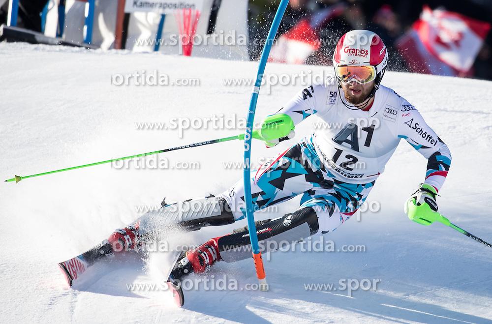 22.01.2017, Hahnenkamm, Kitzbühel, AUT, FIS Weltcup Ski Alpin, Kitzbuehel, Slalom, Herren, 1. Lauf, im Bild Marco Schwarz (AUT) // Marco Schwarz of Austria in action during his 1st run of men's Slalom of FIS ski alpine world cup at the Hahnenkamm in Kitzbühel, Austria on 2017/01/22. EXPA Pictures © 2017, PhotoCredit: EXPA/ Johann Groder