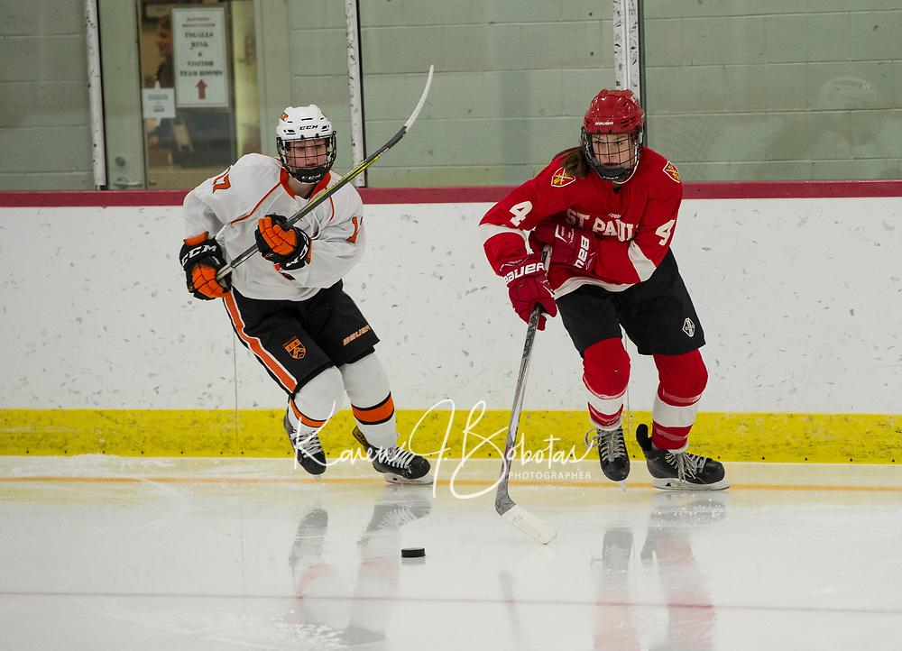 St Paul's School girls varsity hockey versus Kimball Union.  ©2018 Karen Bobotas Photographer