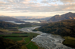 Otago:  Aerial view of Lake Wanaka, fed by the blended and braided waters of the Makarora, Young and Wilkin rivers as well as numerous creeks.