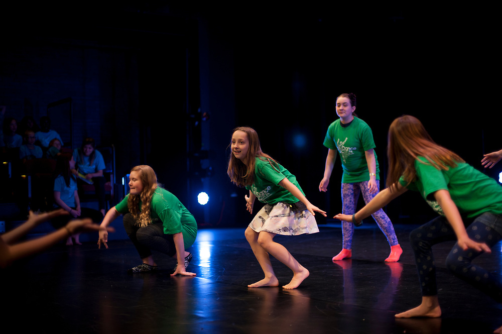 The ZagDance program, a community service and social justice after-school program taught by GU Dance Program students, puts on their annual performance for families in the Magnuson Theatre
