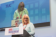 Angela Grant speaking at the TUC congress 2016, Brighton. UK.