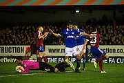 Paul Jones makes a save during the The FA Cup match between Aldershot Town and Portsmouth at the EBB Stadium, Aldershot, England on 19 November 2014.