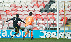 BLACKPOOL, ENGLAND - Wednesday, March 3, 2011: Liverpool's Gerardo Alfredo Bruna Blanco scores the equalising goal against Blackpool during the FA Premiership Reserves League (Northern Division) match at Bloomfield Road. (Photo by David Rawcliffe/Propaganda)