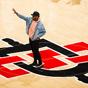 03 February 2018: The San Diego State Aztecs look to rebound after a couple losses against Air Force Saturday night. San Diego State running back Rashad Penny waves to the crowd after being acknowledged for his accomplishments during the 2017 football season.<br /> More game action at www.sdsuaztecphotos.com