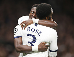 LONDON, Nov. 27, 2019  Tottenham Hotspur's Serge Aurier (L) celebrates scoring with Danny Rose during the UEFA Champions League Group B match between Tottenham Hotspur and Olympiakos at the Tottenham Hotspur Stadium in London, Britain on Nov. 26, 2019..FOR EDITORIAL USE ONLY. NOT FOR SALE FOR MARKETING OR ADVERTISING CAMPAIGNS. NO USE WITH UNAUTHORIZED AUDIO, VIDEO, DATA, FIXTURE LISTS, CLUB/LEAGUE LOGOS OR ''LIVE'' SERVICES. ONLINE IN-MATCH USE LIMITED TO 45 IMAGES, NO VIDEO EMULATION. NO USE IN BETTING, GAMES OR SINGLE CLUB/LEAGUE/PLAYER PUBLICATIONS. (Photo by Matthew Impey/Xinhua) (Credit Image: © Han Yan/Xinhua via ZUMA Wire)