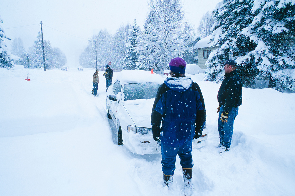 Alaska. Anchorage, Cars buried deep in snow in record snowstorm, April, 2002