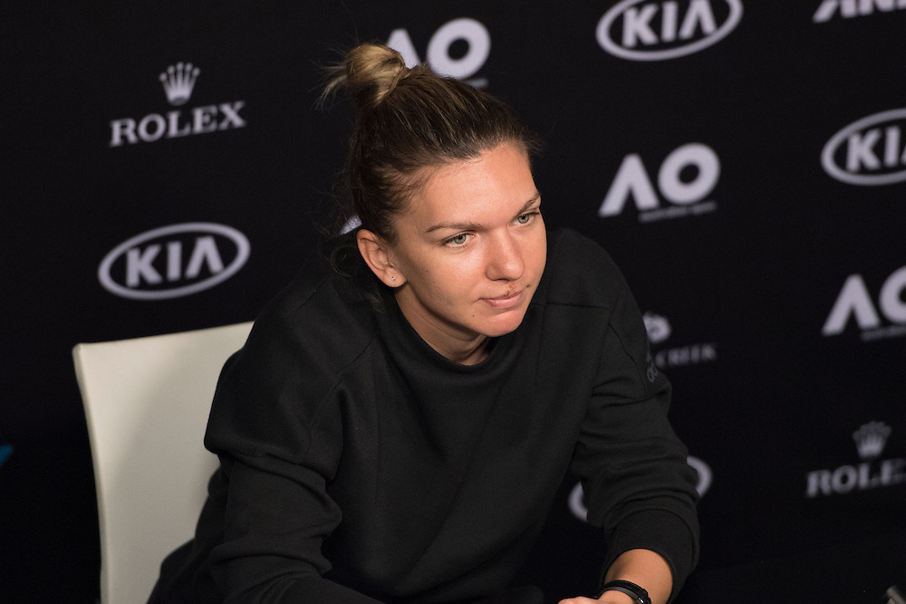 Simona Halep of Romania during her pre-tournament press conference ahead of the 2017 Australian Open at Melbourne Park on January 15, 2017 in Melbourne, Australia.<br /> (Ben Solomon/Tennis Australia)