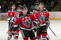 KELOWNA, CANADA - OCTOBER 10: Myles Bell #29, Jesse Lees #2, Mitchell Wheaton #6, Colton Sissons #15 and Dylen McKinlay #19 of the Kelowna Rockets skate to the bench after scoring a goal as the Spokane Chiefs visit the Kelowna Rockets on October 10, 2012 at Prospera Place in Kelowna, British Columbia, Canada (Photo by Marissa Baecker/Shoot the Breeze) *** Local Caption ***