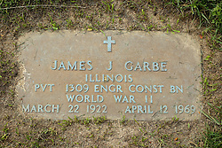 31 August 2017:   Veterans graves in Park Hill Cemetery in eastern McLean County.<br /> <br /> James J Garbe Illinois Private 1309 ENGR Const BN World War II  March 22 1922  April 12 1969