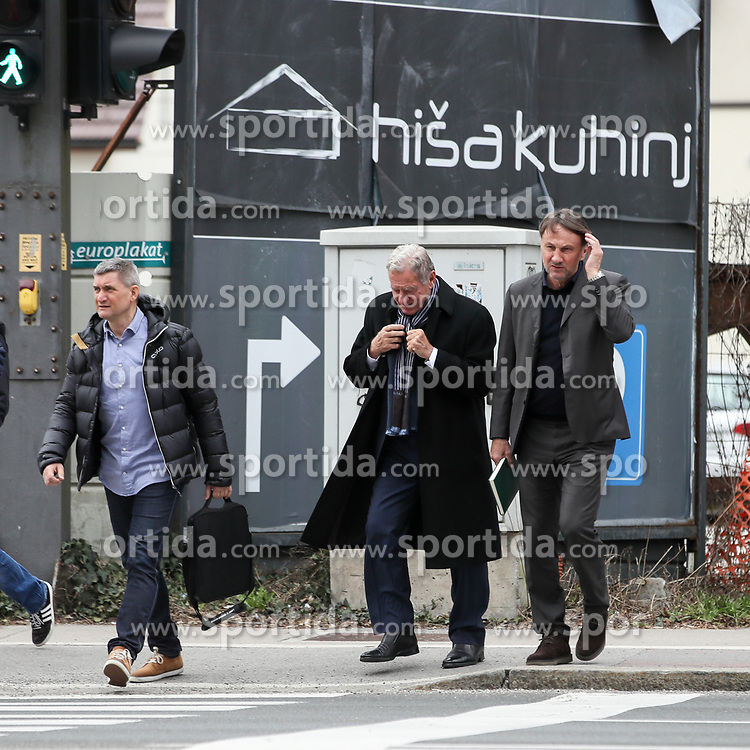 Ranko Stojic, Marijan Pusnik and Milan Mandaric at press conference of NK Olimpija Ljubljana about new head coach Marijan Pusnik, on March 9, 2017 in Austria Trend Hotel, Ljubljana, Slovenia. Photo By Matic Klansek Velej / Sportida