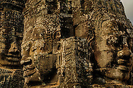 Three faces of the bayon temple, angkor wat, cambodia