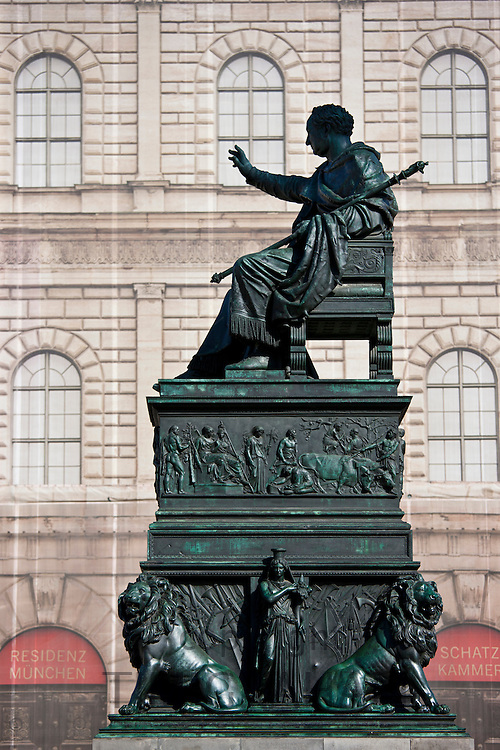 Bronze of Max Iosepho, King of Munich, in Max-Joseph Platz by Residenz Munchen and Maximillianstrasse, Munich, Bavaria, Germany