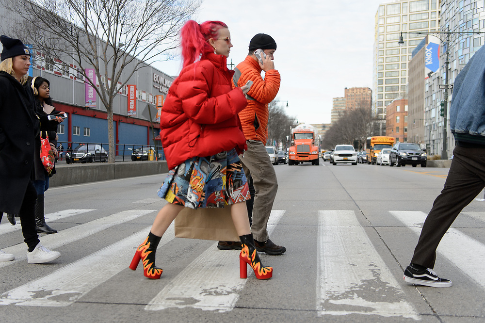 Red Puffer Jacket and Flame Heels, NY Fashion Week Men's FW2018