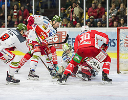 17.03.2019, Stadthalle, Klagenfurt, AUT, EBEL, EC KAC vs HCB Suedtirol Alperia, Viertelfinale, 3. Spiel, im Bild Marco INSAM (HCB Suedtirol Alperia, #8), Paul GEIGER (HCB Suedtirol Alperia, #3), Jacob SMITH (HCB Suedtirol Alperia, #1), Matt NEAL (EC KAC, #50) // during the Erste Bank Icehockey 3rd quarterfinal match between EC KAC and HCB Suedtirol Alperia at the Stadthalle in Klagenfurt, Austria on 2019/03/17. EXPA Pictures © 2019, PhotoCredit: EXPA/ Gert Steinthaler