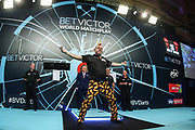 Peter Wright takes to the stage during the BetVictor World Matchplay Darts 2018 semi final at Winter Gardens, Blackpool, United Kingdom on 28 July 2018. Picture by Shane Healey.